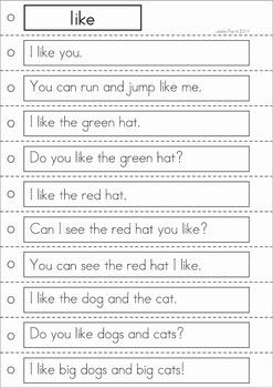 Sight Words Fluency Strips