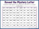Sight Words; Reveal Mystery Letter E