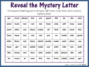 Sight Words; Reveal Mystery Letter F