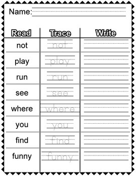 Sight Words Review Worksheets