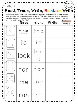 Sight Words Roll, Read, Trace, Write, Rainbow Write!  Top 50 Sight Words