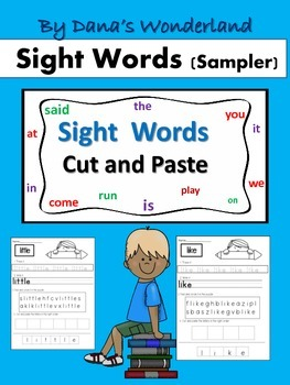 FREE Sight Words Worksheets Cut and Paste
