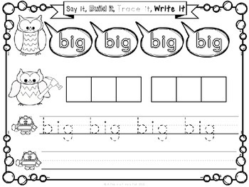Sight Words (Say it, Build it, Trace it, Write it): Pre-Primer