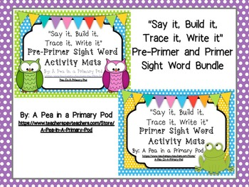 Sight Words (Say it, Build it, Trace it, Write it): Pre-Primer and Primer Bundle