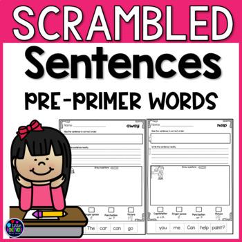 Scrambled Sentences - Sight Words Kindergarten