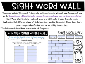 Sight Words Search | Sight Word Worksheets Editable