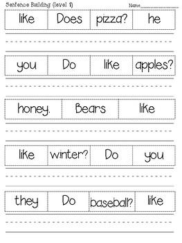 Sight Words Sentence Building Worksheets (more than 100 sentences)