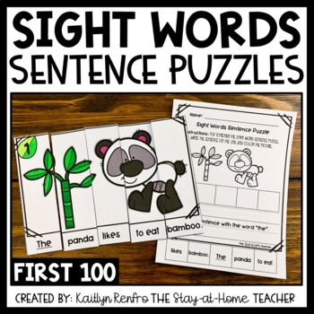 Sight Words Sentence Building Puzzles - Fry's First 100