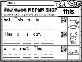 Sight Words Sentence Repair Shop FREEBIE!