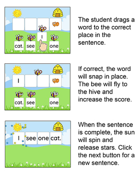 Sight Words Game - Pre-Primer Sentence Scramble for Smartboards and Computers