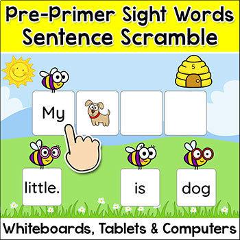 Sight Words Game - Pre-Primer Sentence Scramble - Winter A