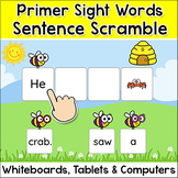 Build Sentences Sight Words Game with Primer Words - Spring Activities