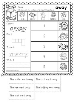 Read and Match Sight Word Sentences PRE PRIMER