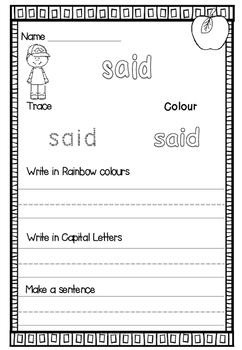 Sight Words Activity Pack (Set 1)
