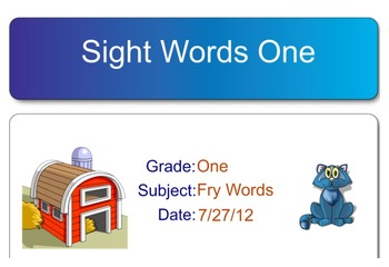 Sight Words Set One Smart Notebook