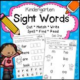 Kindergarten Sight Words Activities Set One