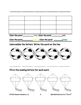 Sight Words Solutions Template