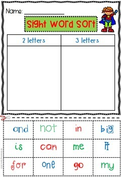 Sight Word Sorting Activities Superhero Theme - Pre-Primer and Primer Words