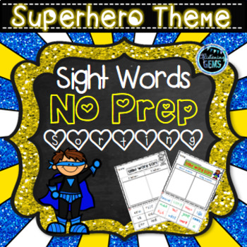 Sight Word Sorting Activities Superhero Theme