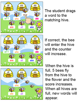 Sight Words Sorting Game - Word Work Game for SmartBoards, Tablets & Computers