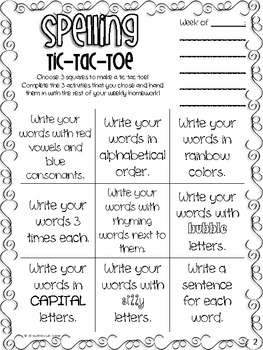 Sight Words & Spelling Tic-Tac-Toe