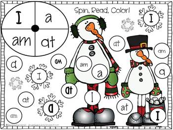 Sight Words {Spin, Read, Color!} Winter and Christmas