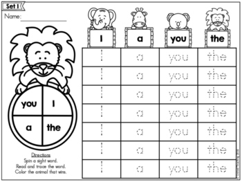 Sight Words Spin and Graph Pre-Primer Edition