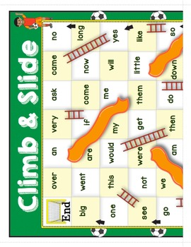 Sight Words - Sports Themed Climb and Slide Sight Word Game Boards