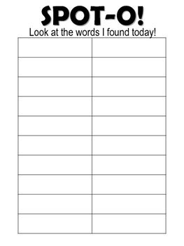 Sight Words Spot-O! Fry Words 1 to 20 Sensory Bag Activity