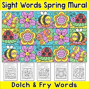 Summer Activities: Color by Sight Words Mural