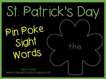 Sight Words:  St. Patrick's Day: Pin Poke Shamrocks