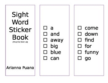 Sight Words Sticker Book-PrePrimer