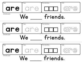 Sight Words Strips - Primer Words:  Make A Sight Word Practice Book
