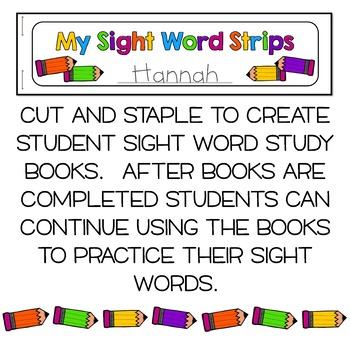 Sight Words Strips - Second Grade Words:  Make A Sight Word Practice Book