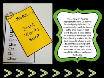 Sight Words Student Book and Assessment Form