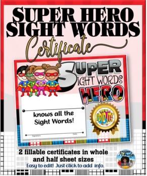Sight Words Super Hero Certificate