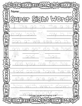 Sight Words-Super Heroes