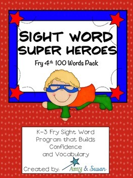 Sight Words Super Heroes 4th 100 Words