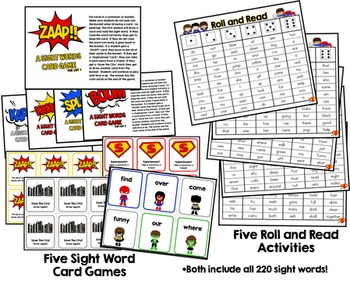 Sight Words Superhero {Add-On} Kit!  130 Pages of Sight Word Resources & Games!