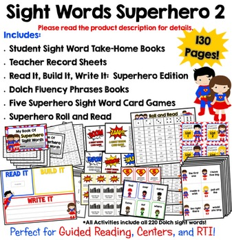 Sight Words Superhero {Add-On} Kit!  130 Pages of Sight Wo