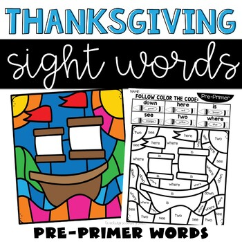 Sight Words Thanksgiving Theme with Pre-Primer Words