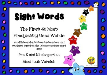 Sight Words - The First 40 Most Frequently Used Words - US