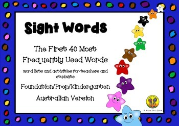 Sight Words - The First 40 Most Frequently Used Words - Au