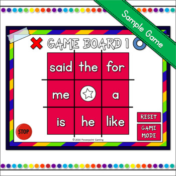Freebie - Sight Words Tic-Tac-Toe Game