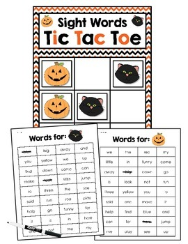 Sight Words Tic Tac Toe - Halloween Version!