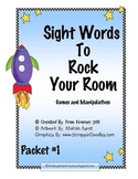 Sight Words To Rock Your Room: Packet #1