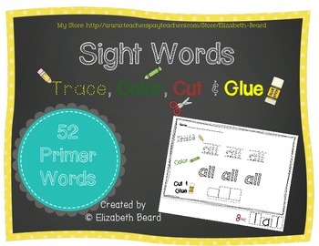 Sight Words Trace, Color, Cut & Glue: Primer Dolch Words