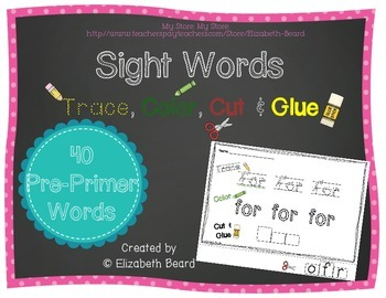 Sight Words Trace, Color, Cut and Glue:  Pre-Primer Dolch Words