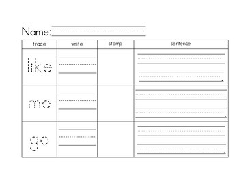 Sight Words- Trace, write, stamp and sentences
