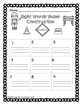 Sight Words Under Construction